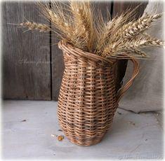 """Купить Плетеный кувшин """"Деревенский"""" - для дома, коричневый, натуральный, плетеная ваза, необычный подарок, для дачи"""