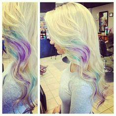Platinum Blonde with Purple Highlights