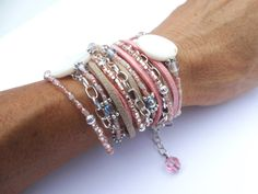 WOMEN'S LEATHER BOHO Wrap Bracelet Mother of Pearl Beaded Wrap Bracelet Leather Wrap Bracelet Layered Bracelet Cuff Bracelet Pink & Tan Wrap