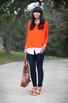 "2013. orange crush. merino boyfriend sweater by j.crew. pintuck silk tunic by alice + olivia. paige verdugo leggings. lotta from stockholm clogs. pendleton canyonville tote.if you asked me ten years ago, ""do you like orange?"" i would have said, ""ew."" if you asked me five years ago, ""do you like orange?"" i would have said, ""sure."" if you asked me now if i like orange i would say, ""YES!"" it's definitely a color i wear more and more"