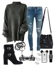 """""""Untitled #140"""" by rkahlon17 on Polyvore featuring Yves Saint Laurent, Gianvito Rossi, H&M, Proenza Schouler, Maison Close, Topshop and Isabel Marant"""