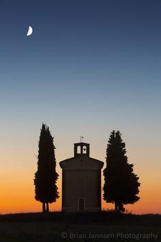 Twilight over Cappella di Vitaleta near San Quirico d'Orcia, Tuscany, Italy. © Brian Jannsen Photography