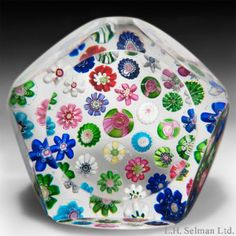 Antique Clichy scattered millefiori paperweight. - Paperweights - Clichy