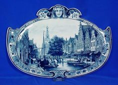 RP: Large Delft Horizontal Very Fine View of a City Blue