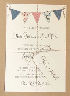 Rustic Wedding Invitation. Unique Bunting by FromLeoniWithLove, £3.75