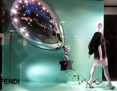 www.retailstorewindows.com: Fendi, London  A giant ballon is a great idea.