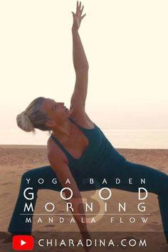"""Es geht auch ohne Yogamatte: Mit dieser 15 minütigen """"Guten Morgen!"""" Yogaklasse kannst Du auch als Yoga Anfänger Dein Mandala vollenden und bei Sonnenaufgang sanft und dennoch kraftvoll in Deinen Tag starten! #yogaklasse #onlineyoga #chiaradina #badenbeiwien"""