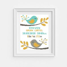 Baby cross stitch pattern Baby birth announcement DIY