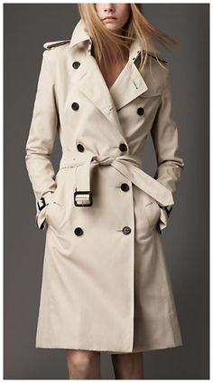 Something about Burberry trenches...Burberry Double Breasted Long Cotton Trench Coat in beige