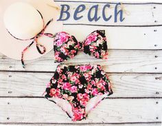2a13b671eb Bow Bikini High Waist Vintage pink black floral roses Bandeau top Cute Sexy  Swimwear Retro Pin up Swimming Costume floral Bathing suit