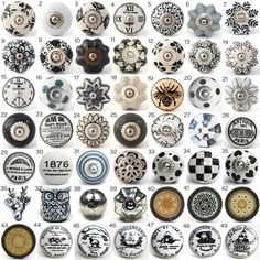 Vintage Ceramic Knobs, Ornamental Door Knobs with Various Black, White & Grey Designs, Kitchen Cabinet Handle, Cupboard or Drawer Pulls by DesignInFocus on Etsy https://www.etsy.com/listing/225804546/vintage-ceramic-knobs-ornamental-door