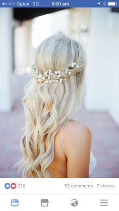 Hair style for all junior bridesmaids but with natural waves not curls- and green leafy strands woven into the plait. This is for Sari, Xianna and Cloe