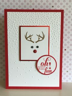 Card No 3 - using the antler stamp from the Wonderland stamp set, I really did'nt think I would use this particular stamp but when I saw ideas on Pinterest to use it this way I had to have a go. My embossed backing uses the Softly Falling embossing folder with a greeting from a retired SU stamp set - Julia Jordan