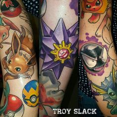 """ Amazing Pokemon piece by Thanks again Troy! Badass Tattoos, Love Tattoos, Body Art Tattoos, Halo Tattoo, Tattoo Skin, Video Game Tattoos, Tattoo Ideas, Tattoo Designs, Comic Tattoo"