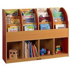 Books, toys, and games stay organized all in one place. Single-sided book stand has easy-to-reach shelves to display favorite books, with additional storage cubbies below for puzzles, blocks, and more. Easy-to-clean laminate in maple finish, with your choice of side panel accent color.