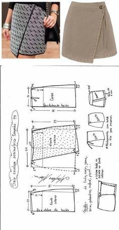 Mini saia envelope - DIY - molde, corte e costura - Marlene Mukai // Taika Dress Couture, Diy Couture, Sewing Clothes Women, Diy Clothes, Easy Sewing Patterns, Clothing Patterns, Fashion Sewing, Diy Fashion, Moda Fashion