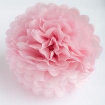 Pom pom silkkipaperikukka 25 cm / vaaleanpunainen