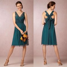 A Line V neck Knee Length Teal Color Bridesmaid Dresses 2016 Short VintageTulle Satin Bow Cocktail Party Gownsn