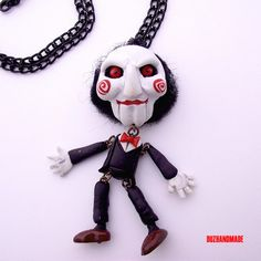 SAW the puppet - Halloween Horror necklace CLAY Handmade FIMO