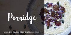 Porridge aux amandes, graines de courge, raisin, noix de coco, gingembre... Le petit-déjeuner complet et équilibré !  #petitdéjeuner #déjeuner #lunch #diet #dietfood #porridge #bouillie #raisin #fruit #courge #graine #amande #flocon #avoine #recette #cuisine #recettedecuisine