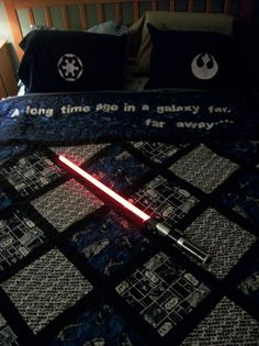 The star wars quilt I designed/made for my hubs for his birthday!  (And the freezer paper stencil pillowcases!)