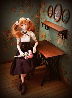 Wood table from mashine Zinger for doll size 1/6,1/4,1/3 (BJD MSD SD…