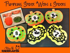 Pumpkins, Spider Webs, and Spiders Number Matching! #Halloween #prek (repinned by Super Simple Songs)