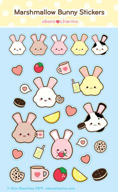 Marshmallow Bunny StickerSheet by =Oborochann on deviantART   #cute #kawaii