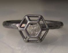 Rough Diamond Engagement Ring - Caged Diamond in Recycled Sterling Silver