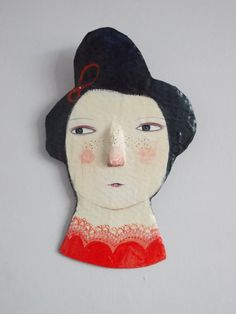 Mixed media plaque  Painted face  wall hanging by maidolls on Etsy, £23.00