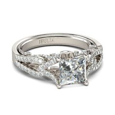 2.0CT Delicate Princess Cut Twist Style Created White Sapphire Rhodium Plating Sterling Silver Engagement Ring