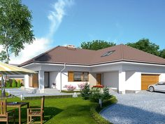 DOM.PL™ - Projekt domu MT Ambrozja 2 CE - DOM ST9-25 - gotowy koszt budowy Bungalow House Design, House Plans, New Homes, Outdoor Structures, How To Plan, Mansions, Interior Design, House Styles, Outdoor Decor
