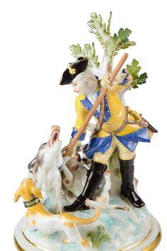 """Vase """"Jagdmalerei nach Ridinger"""", gelber Fond, H 65 cm"""