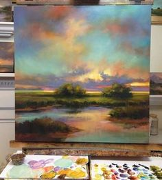 Beautiful sunset painting with colorful sky - #painting #oil #oilpaintin #art
