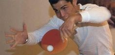"""The """"FIFA World Player of the Year"""" Cristiano Ronaldo looks so funny when playing table tennis."""