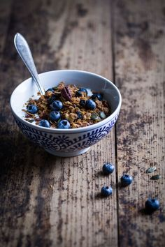 Luxurious Granola with Roasted White Chocolate, Dried Blueberries & Pecans