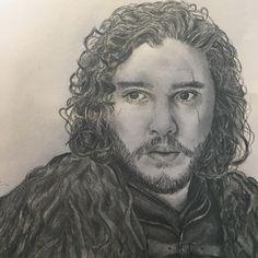 A sketch of Game of Thrones Jon Snow- by Georgie Birden
