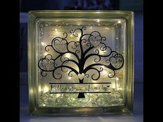 Polycrylic Glitter glass block with photo stencil and lights ScanNCut Jen Blausey