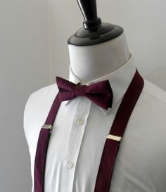 Burgundy Bowtie and Suspenders Set- Men's, Teen, Youth by kellybowbelly on Etsy