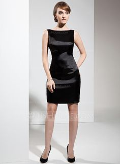 Sheath/Column Scoop Neck Short/Mini Charmeuse Cocktail Dress (016021203)