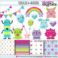 Monster Clipart Creature Clipart Monster Party by TheHappyGraphics