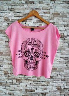 Kup mój przedmiot na #vintedpl http://www.vinted.pl/damska-odziez/koszulki-z-krotkim-rekawem-t-shirty/10187953-top-crop-oversize-neonowy-top-czaszka-must-haveswag-print