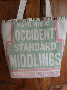 vintage Occident wheat feed sack tote  a Gussied Up by ginnymae, $50.00
