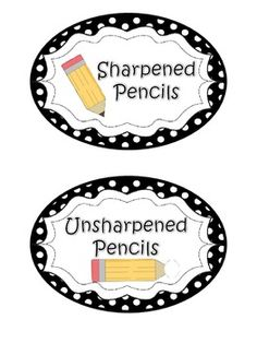Pencil labels in a variety of colors/patterns. Sharpened & Unsharpened Pencils