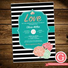 Bridal Shower Invitation - Black White Stripes Pink Turquoise Flowers Shabby Chic Boho Typography Wedding Bride To Be Digital Printable DIY by GlossInkDesigns on Etsy