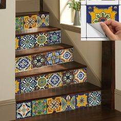 Details about Wall Tile Sticker Kitchen Bathroom Decorative Decal : Mexican Talavera - Thuisdecoratie Tile Decals, Wall Tiles, Room Tiles, Vinyl Decals, Tile Stickers Kitchen, Stair Risers, Home Decor Trends, Bathroom Wall, Bathroom Interior