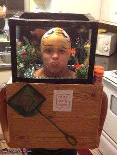 Find yourself in the fishtank. | 33 Super Easy Cardboard Box Halloween Costumes For Lazy People