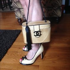 """Chanel-Style Raffia 8.5 Heels & Tassel Bag Custom redesigned One-Of-A-Kind Beverly Feldman size 8.5 raffia & black patent leather peep toe 3.5"""" heels (retail $240) with leather soles.  Heels in excellent pre-loved condition.  The only visible wear is on the bottoms.  Matching custom redesigned raffia & black silk tassel crossbody handbag.  Both have matching black Chanel CC logos.  #chanel #cc #haute #runway Beverly Feldman Shoes Heels"""