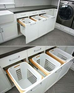 This kind of laundary storage in the bathroom is pretty cool