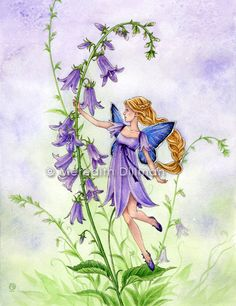 Purple Bellflower 5x7 Fairy art print by Meredith Dillman. via Etsy.